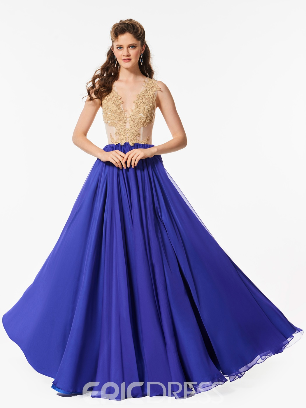 Ericdress A Line V Neck Lace Applique Long Prom Dress