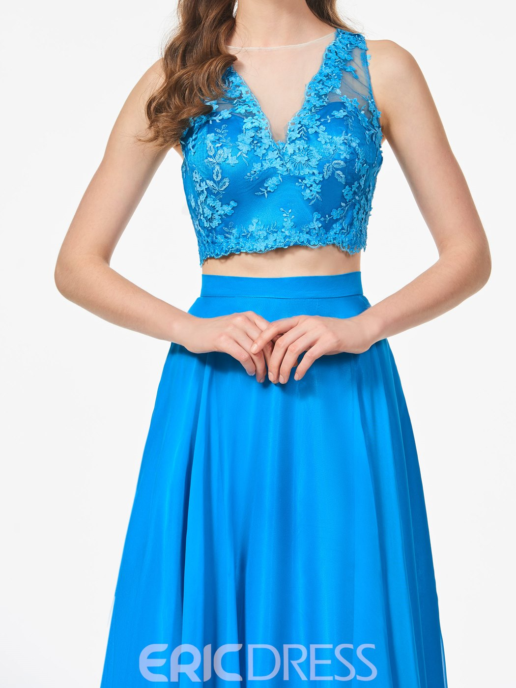 Ericdress A Line Sheer Neck Two Pieces Long Prom Dress