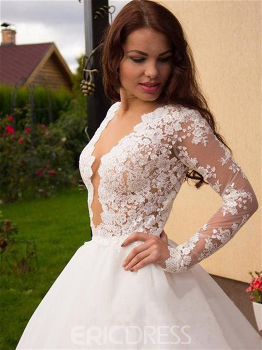 Ericdress Sexy V Neck Long Sleeves A Line Wedding Dress