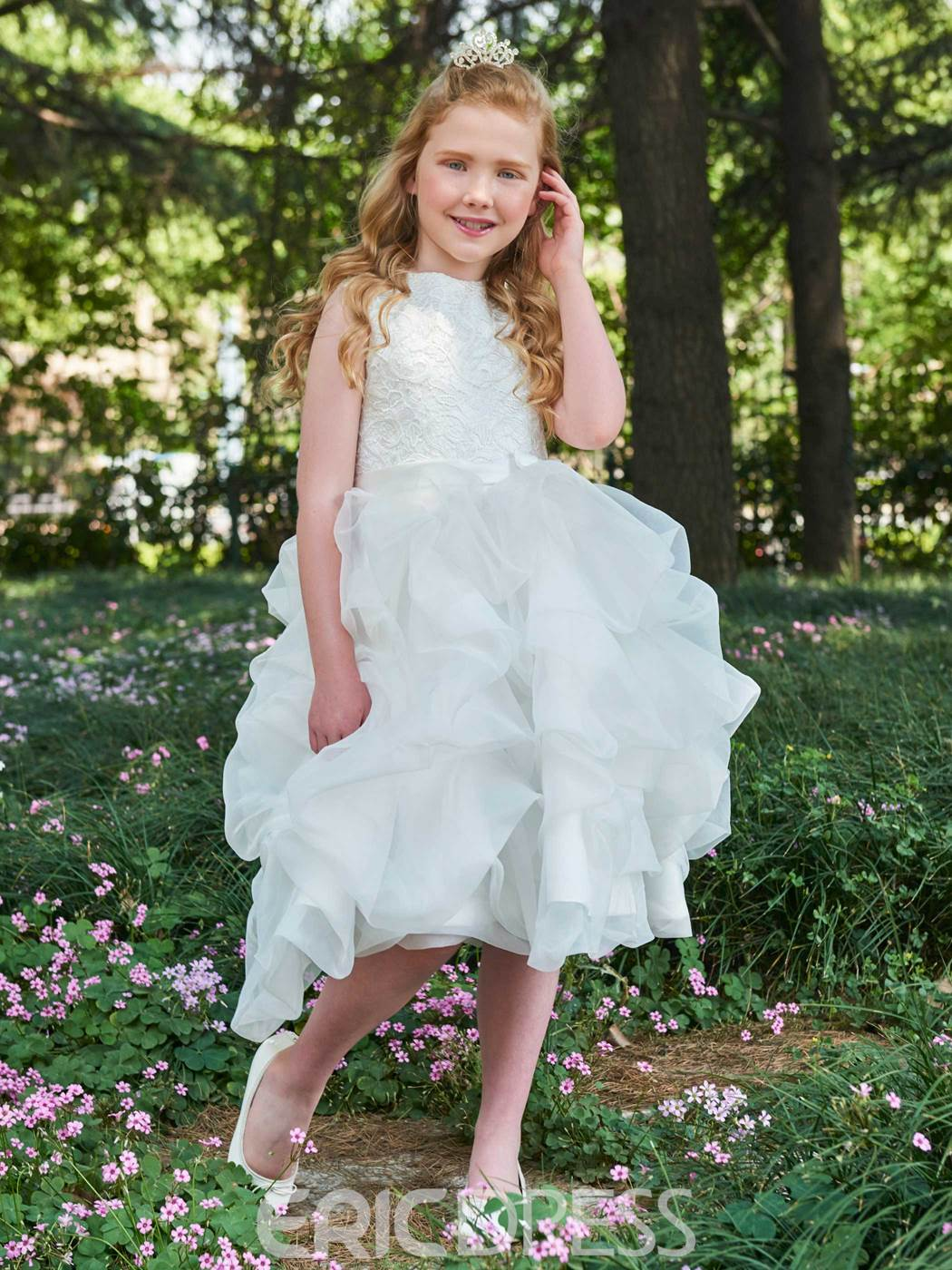 Ericdress Ball Gown Lace Tea Length Flower Girl Dress