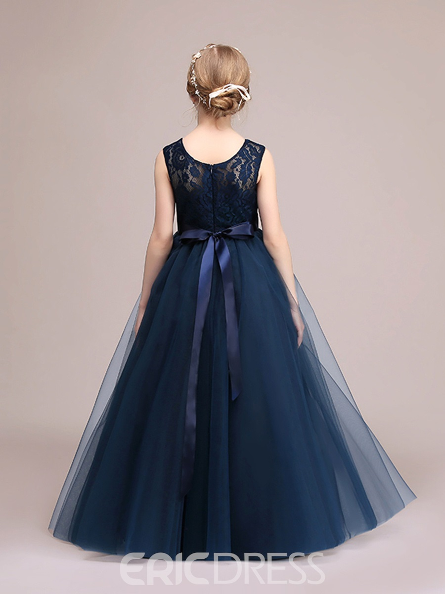 Ericdress Scoop Lace A Line Floor Length Flower Girl Party Dress