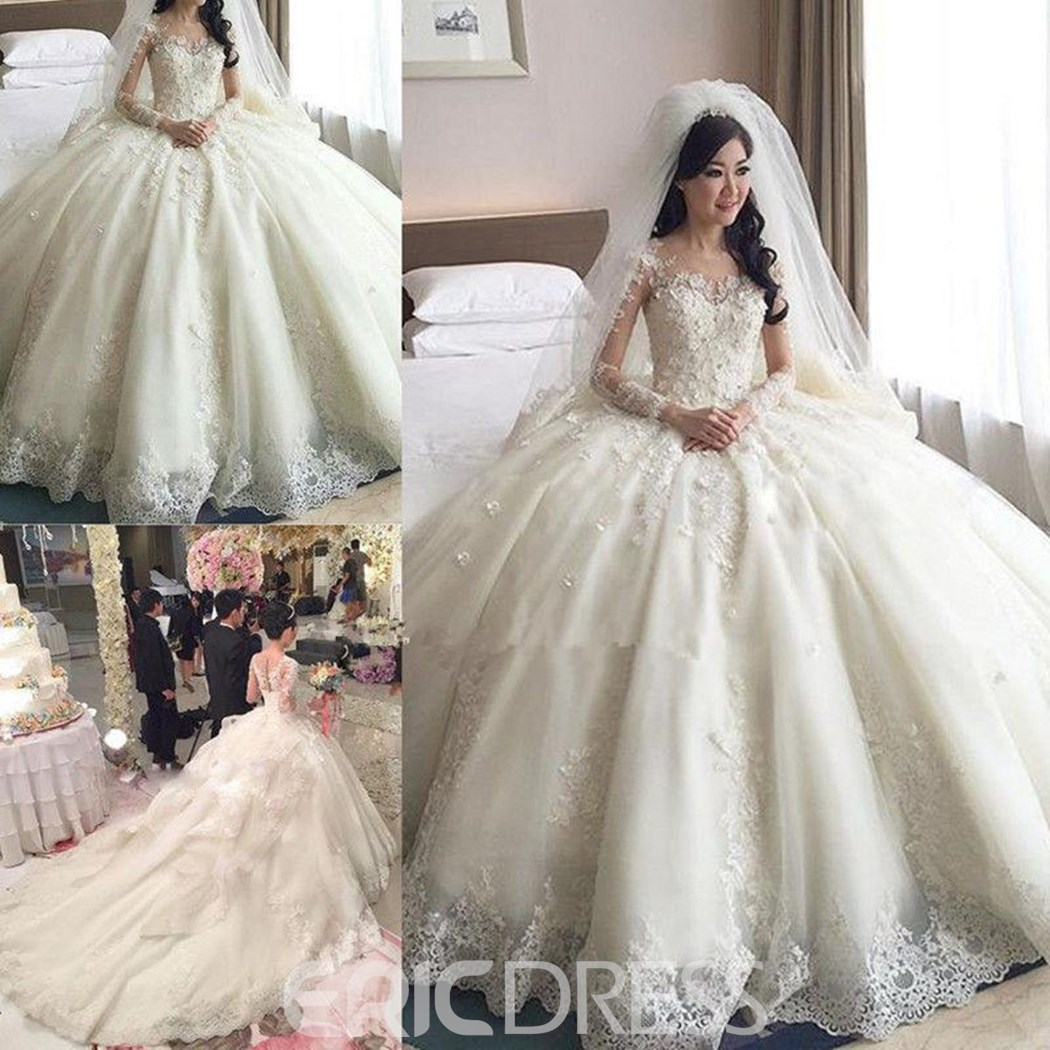 Ericdress Scoop Appliques Long Sleeves Ball Gown Wedding Dress