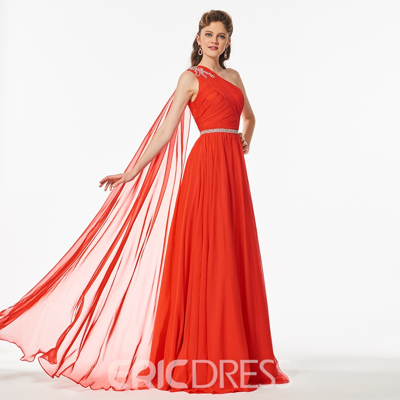 Ericdress A Line One Shoulder Beaded Pleats Long Prom Dress