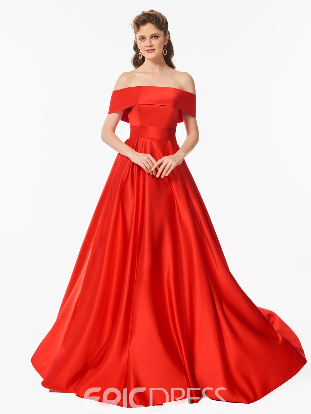Ericdress A Line Off The Shoulder Long Prom Dress With Bowknot Back