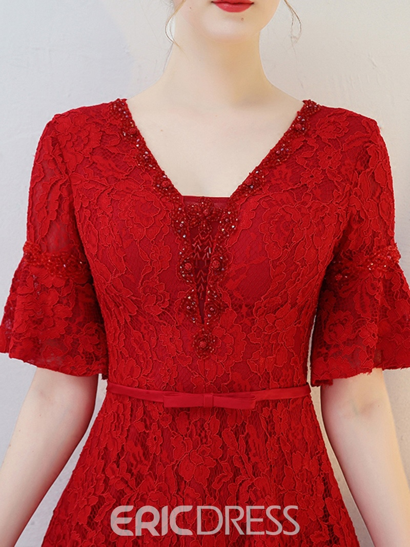 Ericdress A Line Half Sleeve Asymmetry Lace Homecoming Dress