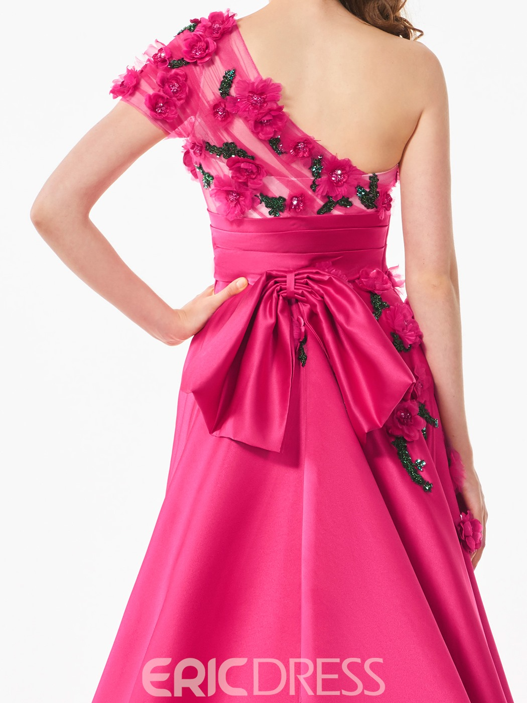 Ericdress A Line One Shoulder Beaded Flower Long Prom Dress
