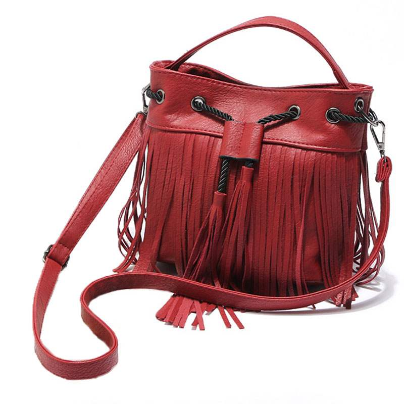 Ericdress Concise Bucket Shape Tassel Crossbody Bag