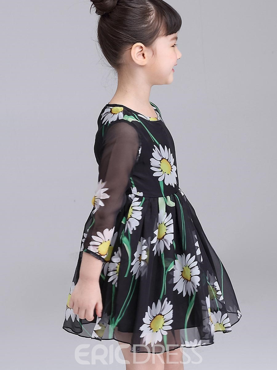 Ericdress Sunflower Mesh Ball Gown Nine Points Sleeve Girls Dress