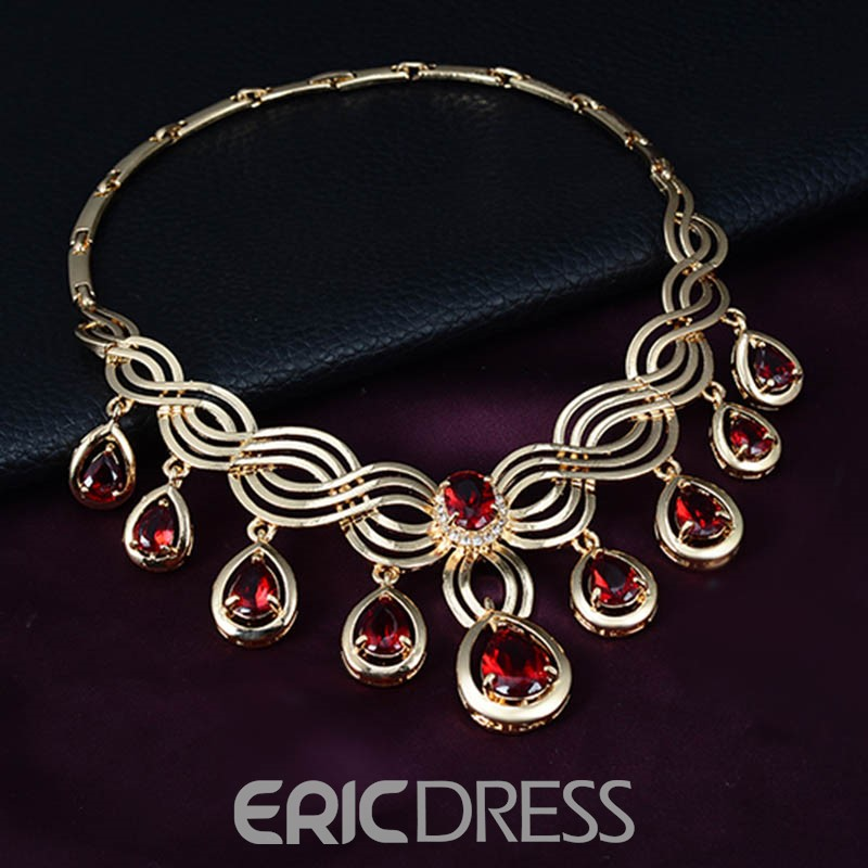 Ericdress Ruby Inlay Pear Cut Jewelry Set for Women