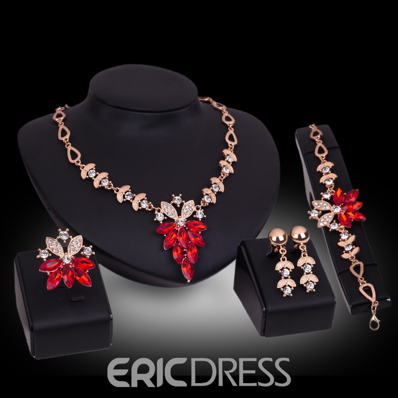 Ericdress Sparkling Ruby Sapphire Four-Piece Jewelry Set