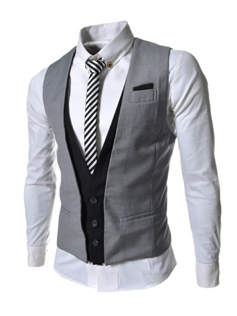 Ericdress Color Block Patched Slim Men's Vest