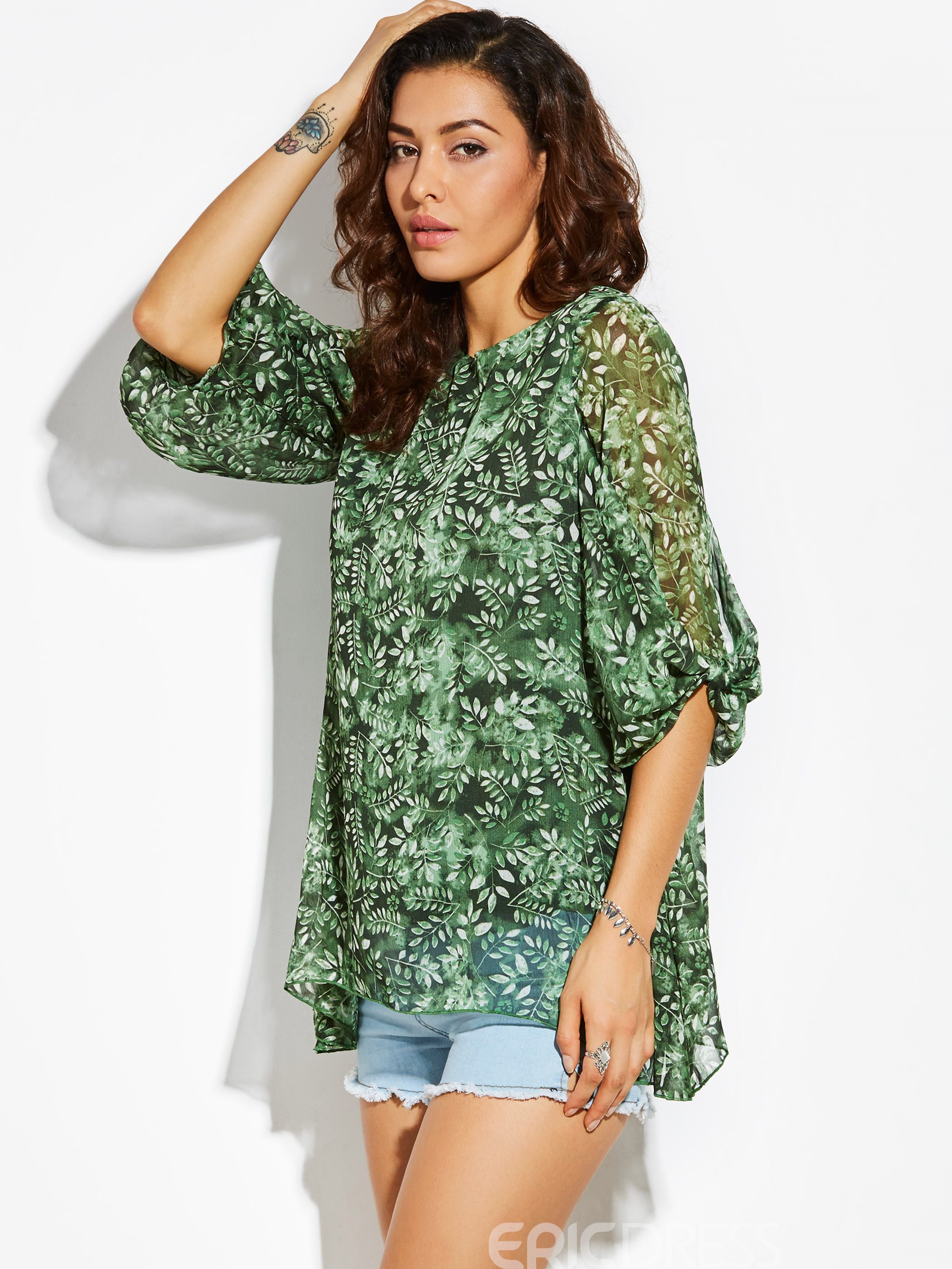 Ericdress Round Neck Plant Print Women's T-shirt