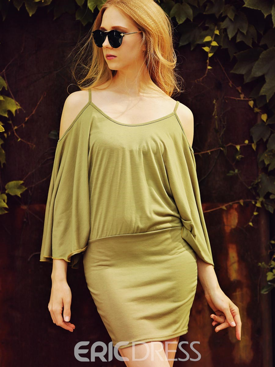 Ericdress Spaghetti Strap Off-The-Shoulder Flare Sleeve Bodycon Dress