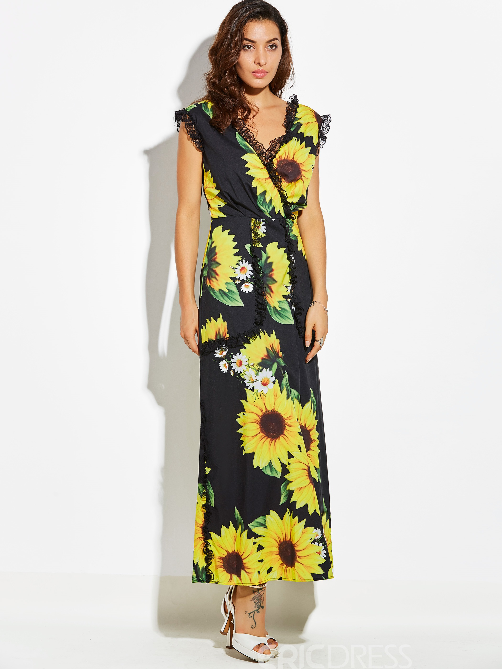 Ericdress V-Neck Sunflower Sleeveless Maxi Dress