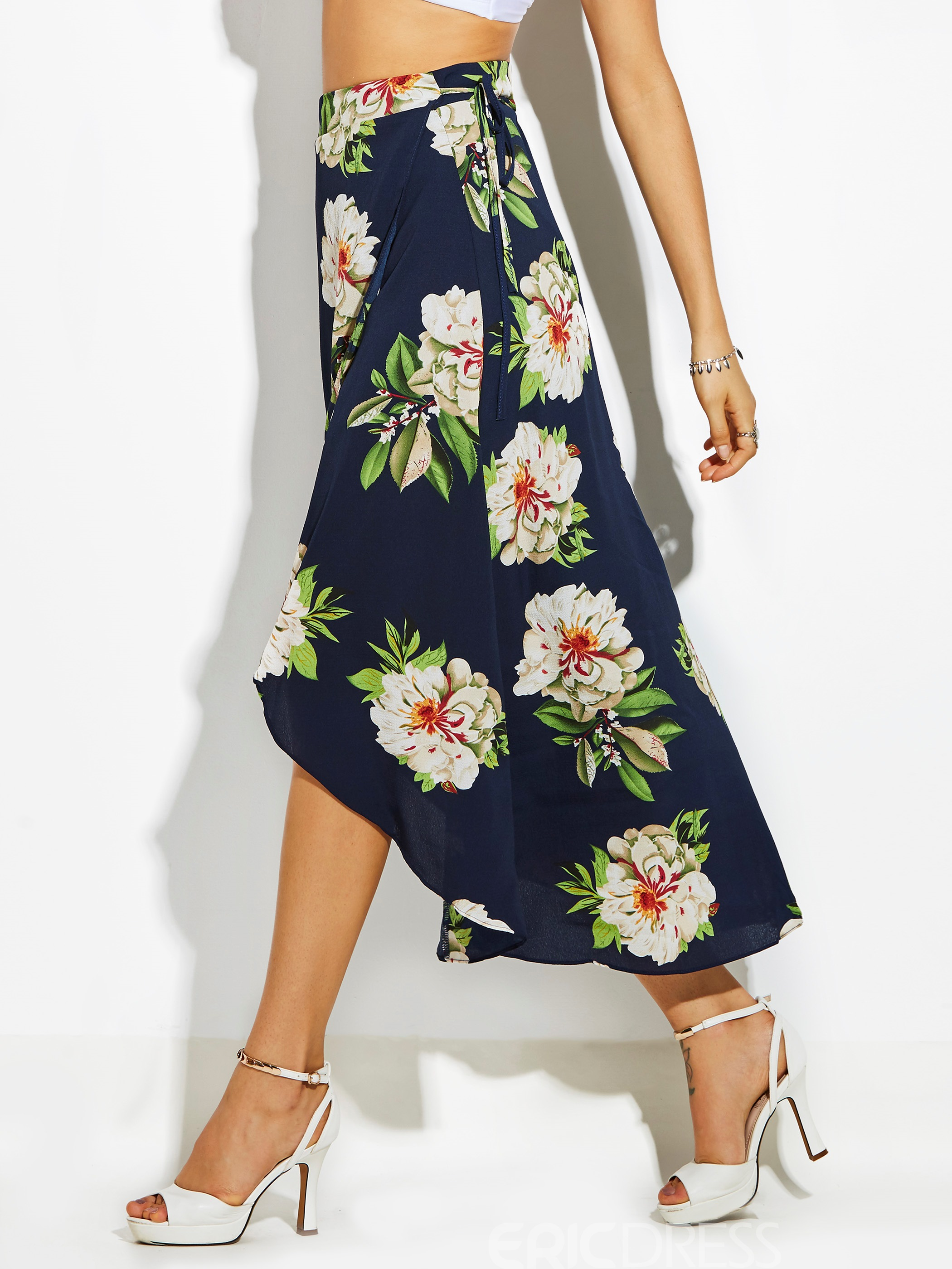 High-Waist Flower Print Asymmetrical Women's Skirt