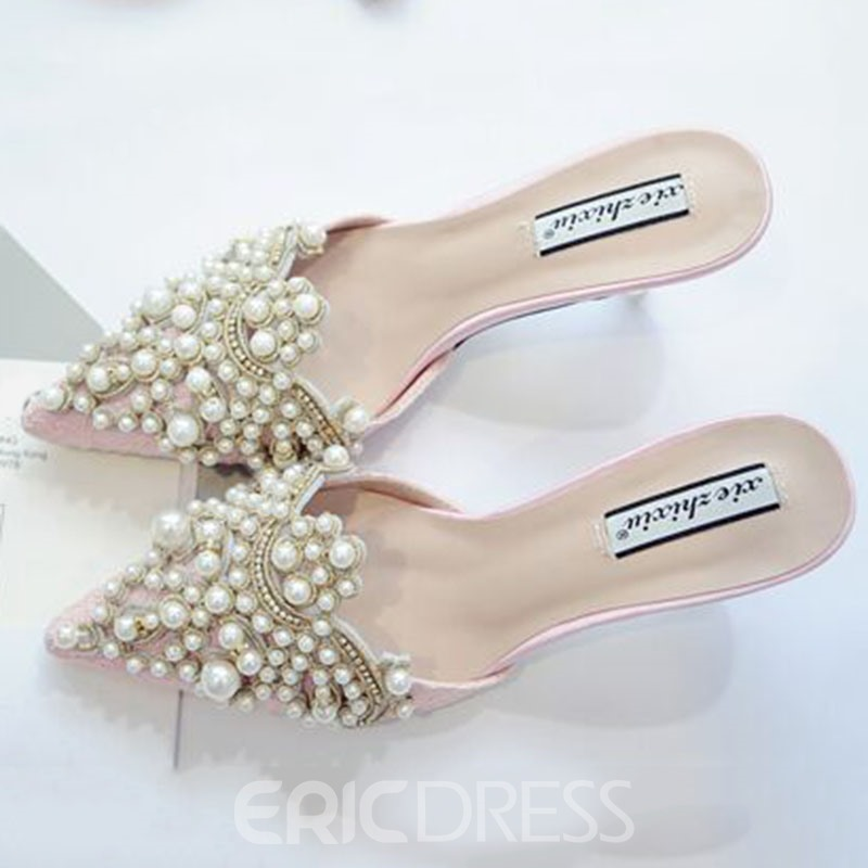 Ericdress Queen Style Pearl Decorated Point Toe Mules Shoes