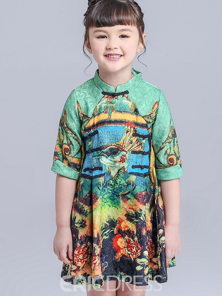 Ericdress Ethnic Button Half-Sleeve Belt Girls Dress