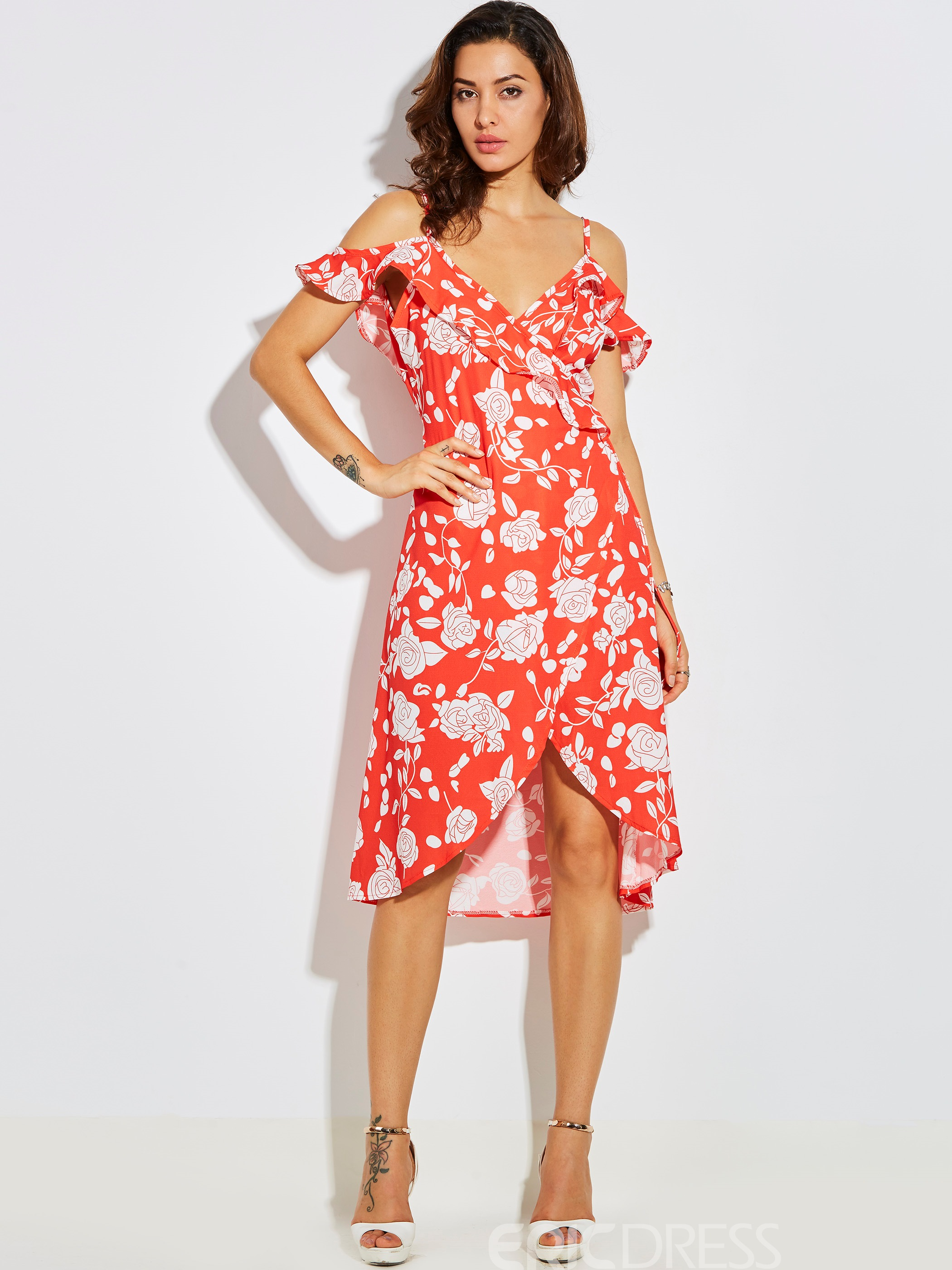 Ericdress Spaghetti Strap Flower Print Backless A Line Dress