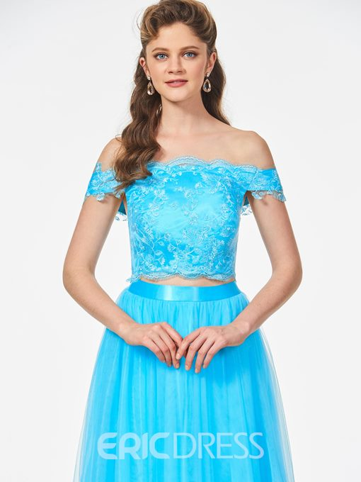 Ericdress Off The Shoulder Lace Two Pieces Long Prom Dress