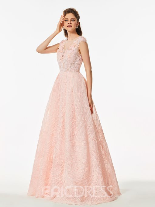 Ericdress A Line Cap Sleeve Lace Long Prom Dress With Button Back