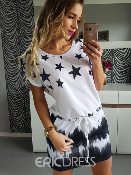 Ericdress Short Sleeve Above Knee Print Bodycon Mid-Waist Dress