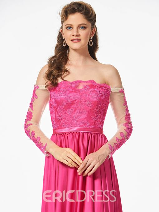 Ericdress A Line Off The Shoulder Long Sleeve Lace Prom Dress