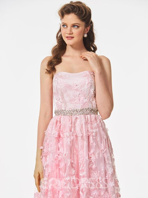 Ericdress A Line Strapless Beaded Waistline Lace Prom Dress