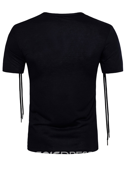 Ericdress Plain Unique Lace-Up Short Sleeve Men's T-Shirt