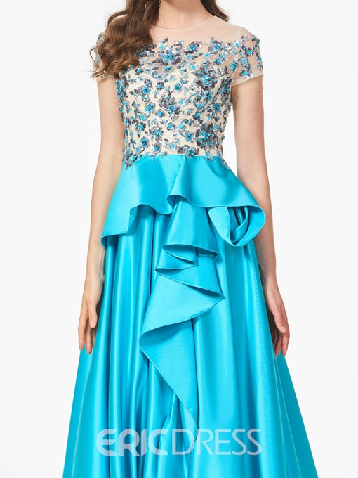 Ericdress A Line Short Sleeve Beaded Layers Long Prom Dress