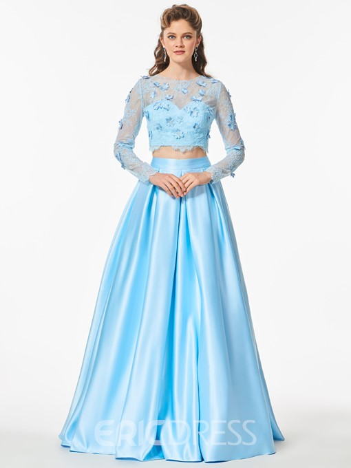 Ericdress Two Pieces Lace Satin Long Sleeve Prom Dress