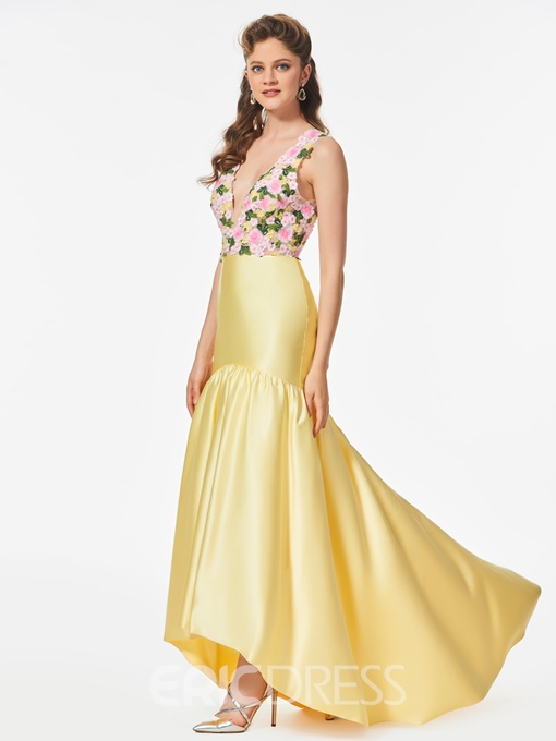 Ericdress A Line Deep V Neck High Low Prom Dress With Flower Embroidery