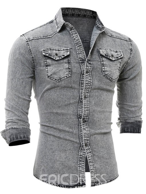 Ericdress Long Sleeve Pocket Denim Slim Men's Shirt