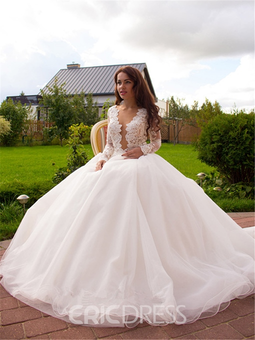 Ericdress Sexy V Neck Long Sleeves A Line Wedding Dress 2019