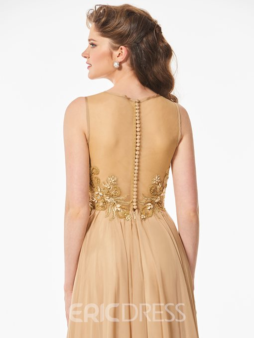 Ericdress A Line Beaded Scoop Neck Long Prom Dress With Sheer Back