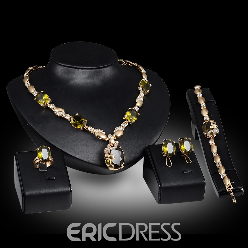 Ericdress Green Sapphire Four-Piece Jewelry Set for Wedding