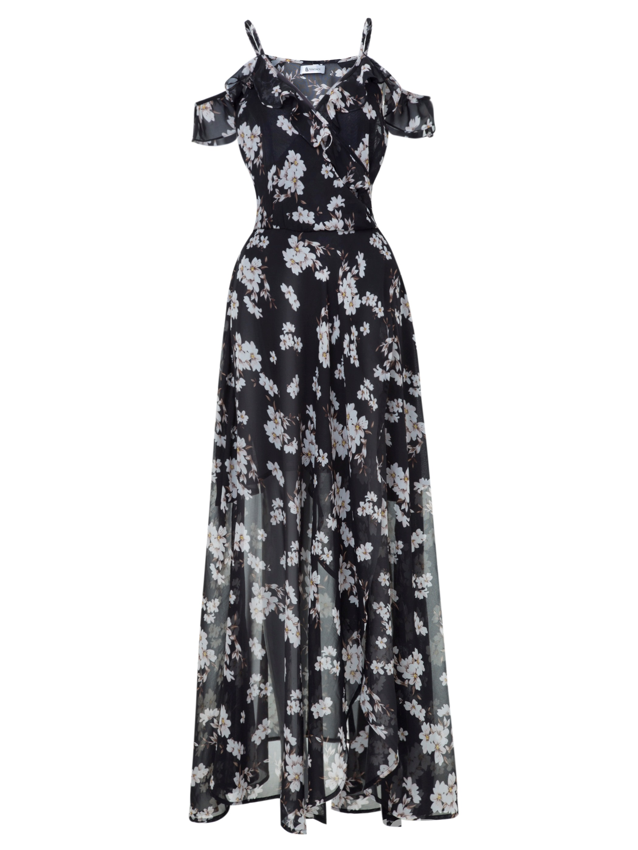 Ericdress Spaghetti Strap Floral Backless Maxi Dress