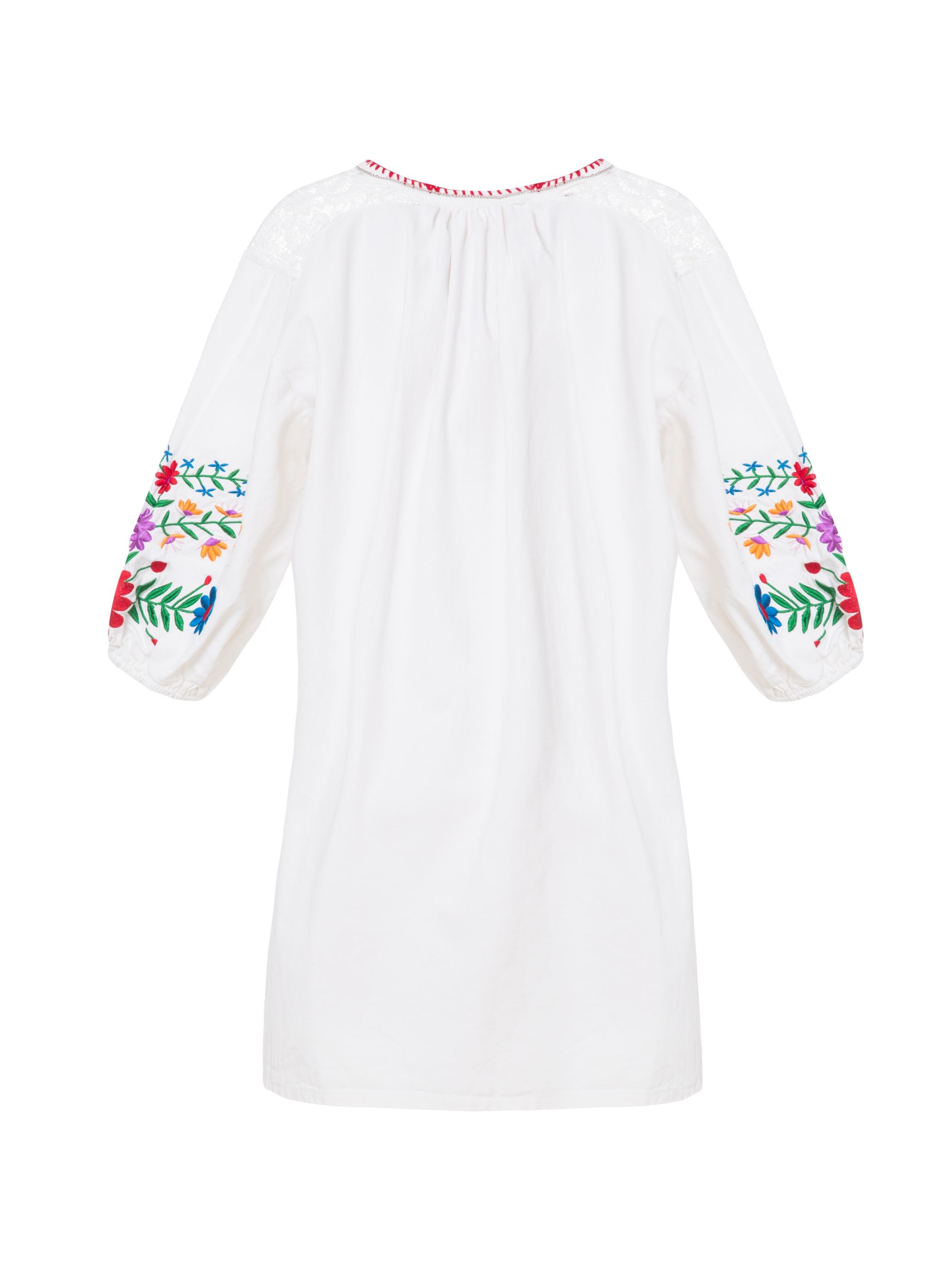 Bohoartist Floral Embroidery Lace Patchwork Women's A-Line Dress