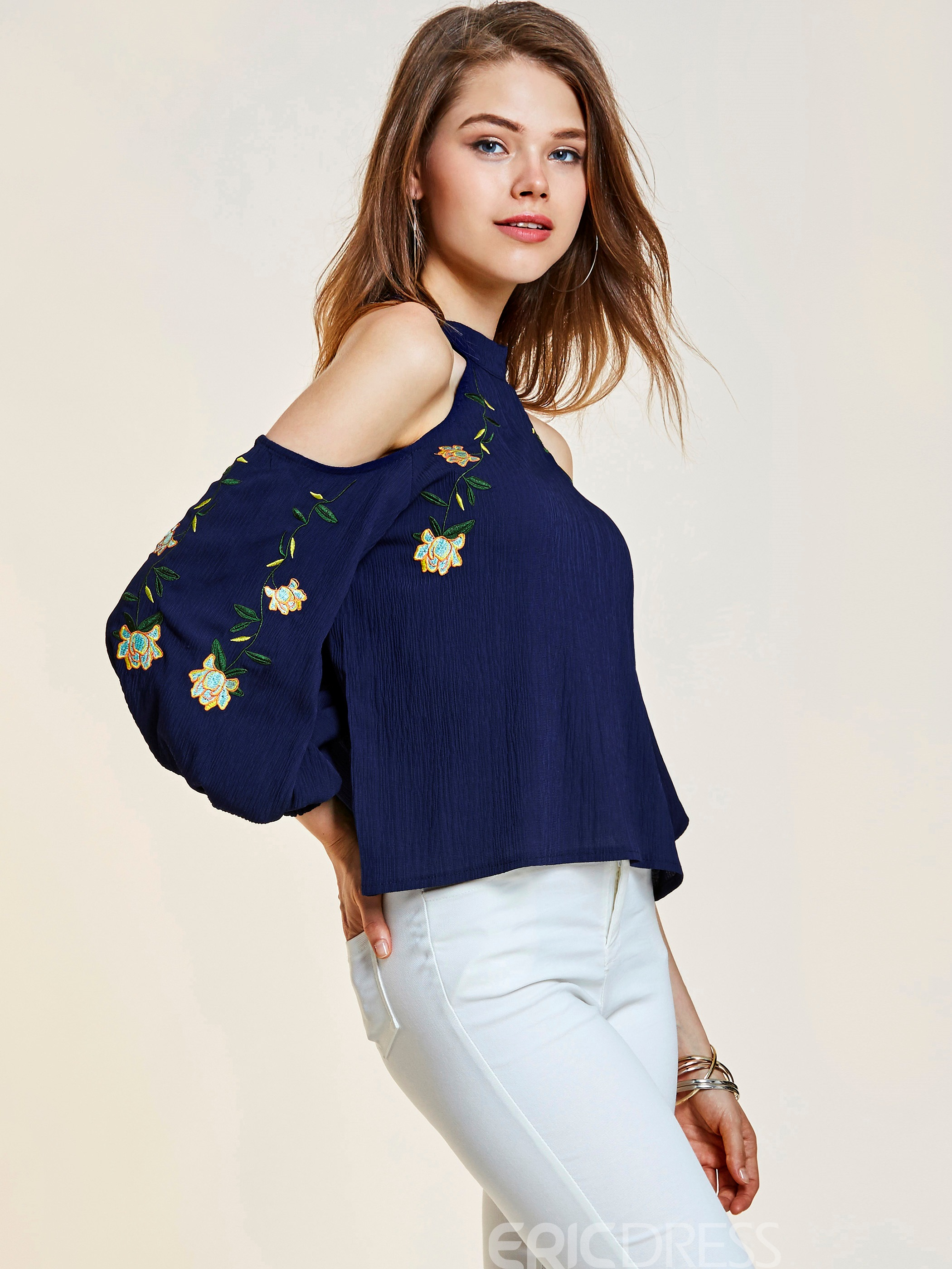 Ericdress Cold Shoulder Floral Embroideried Women's Blouse