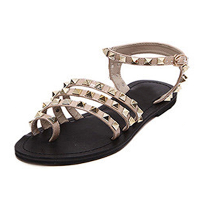 Ericdress Roman Rivets Toe Ring Flat Sandals