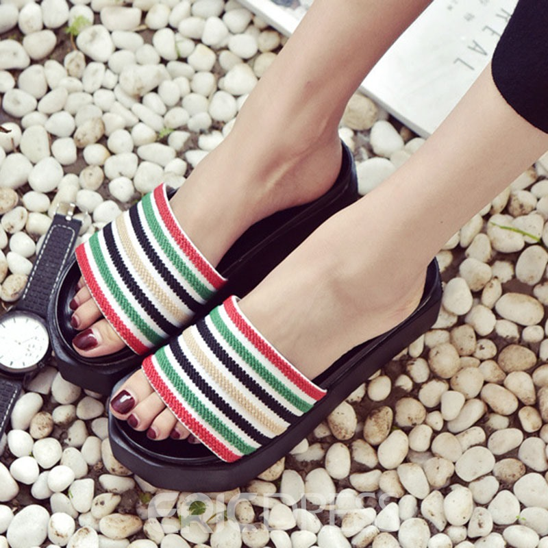 Ericdress Linen Strips Print Mules Shoes