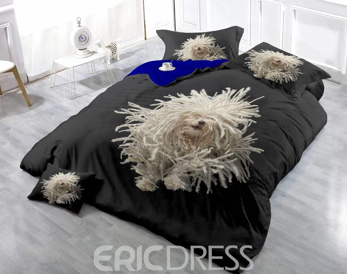 3D Disordered White Fur Dog Printed Luxury Cotton 4-Piece Bedding Sets/Duvet Cover