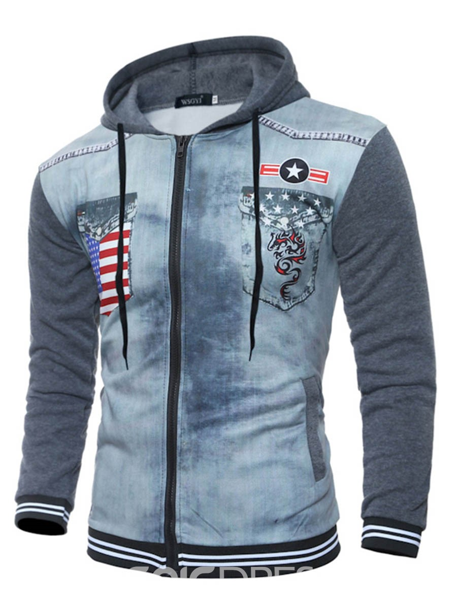 Ericdress Flag Print Patched Casual Men's Hoodie