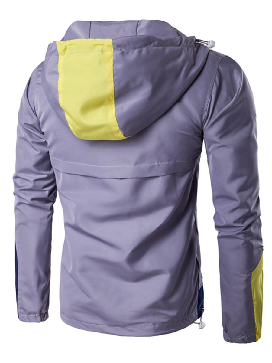 Ericdress Color Block Patched Hood Thin Casual Men's Jacket