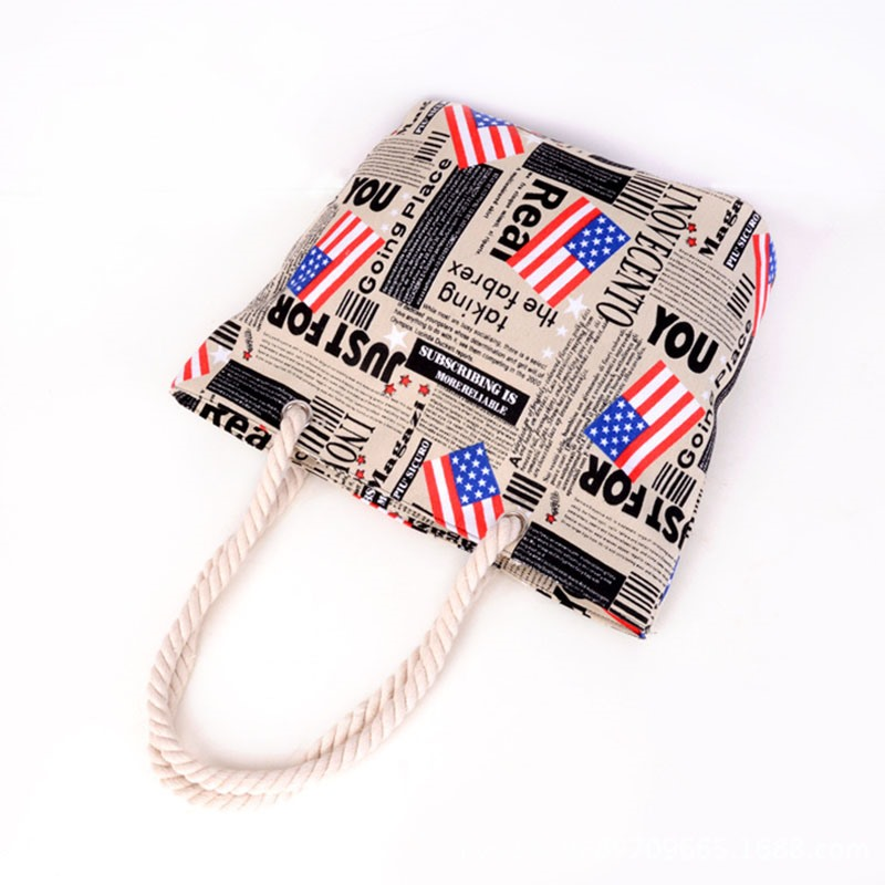 Ericdress American Flag Print Canvas Tote Bag