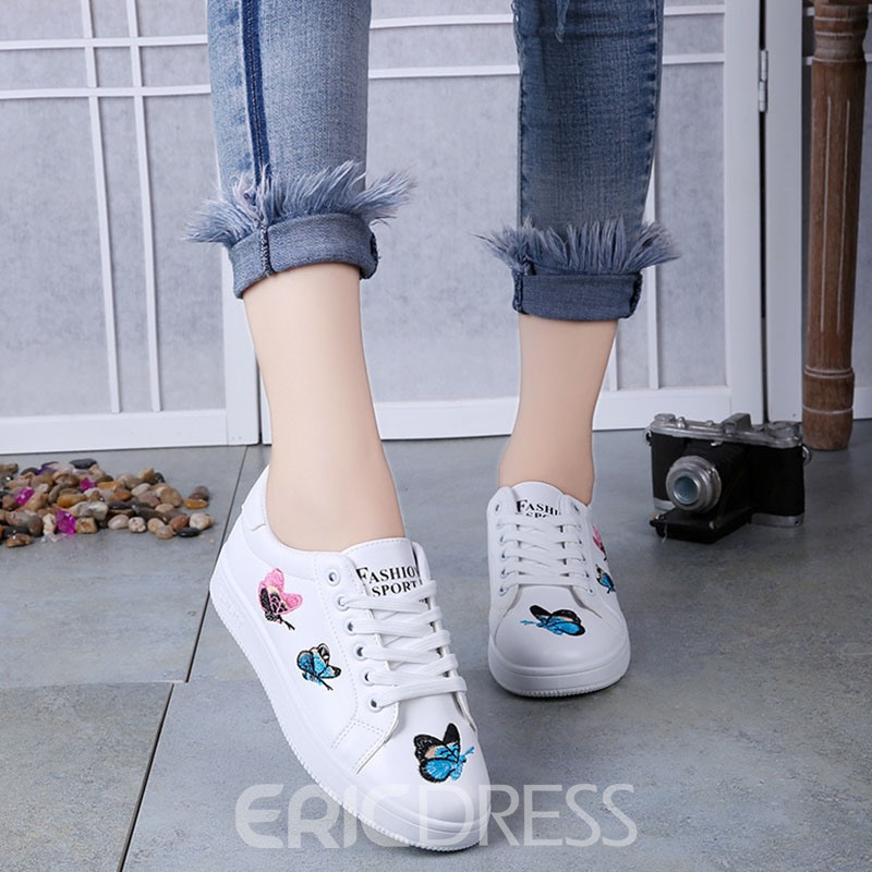 Ericdress Concise Embroidery Lace up Flats