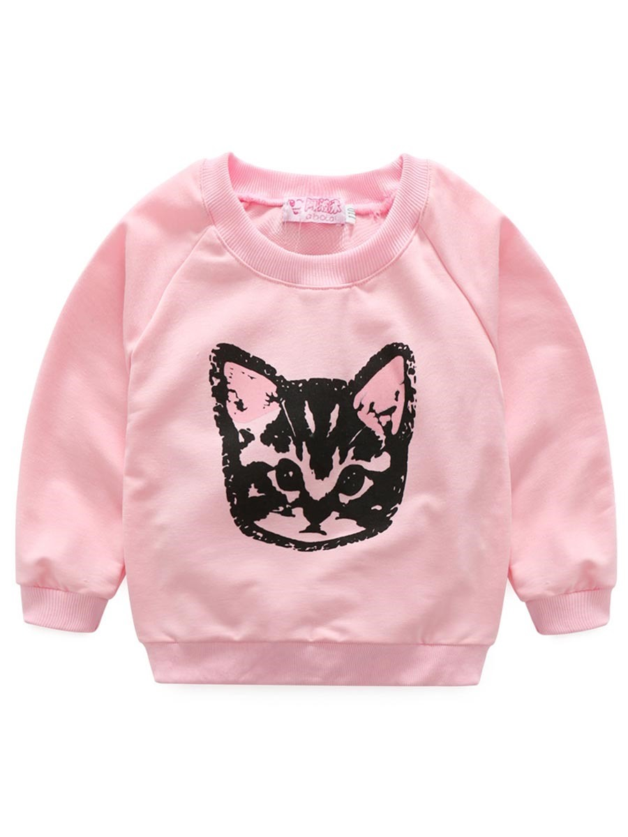 Ericdress Raglan Long Sleeve With Cat Pattern Girls Outfits