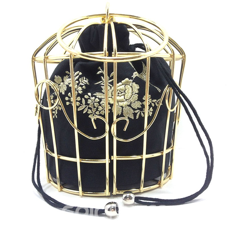 Ericdress Vogue Metal Cage Embroidery Crossbody Bag