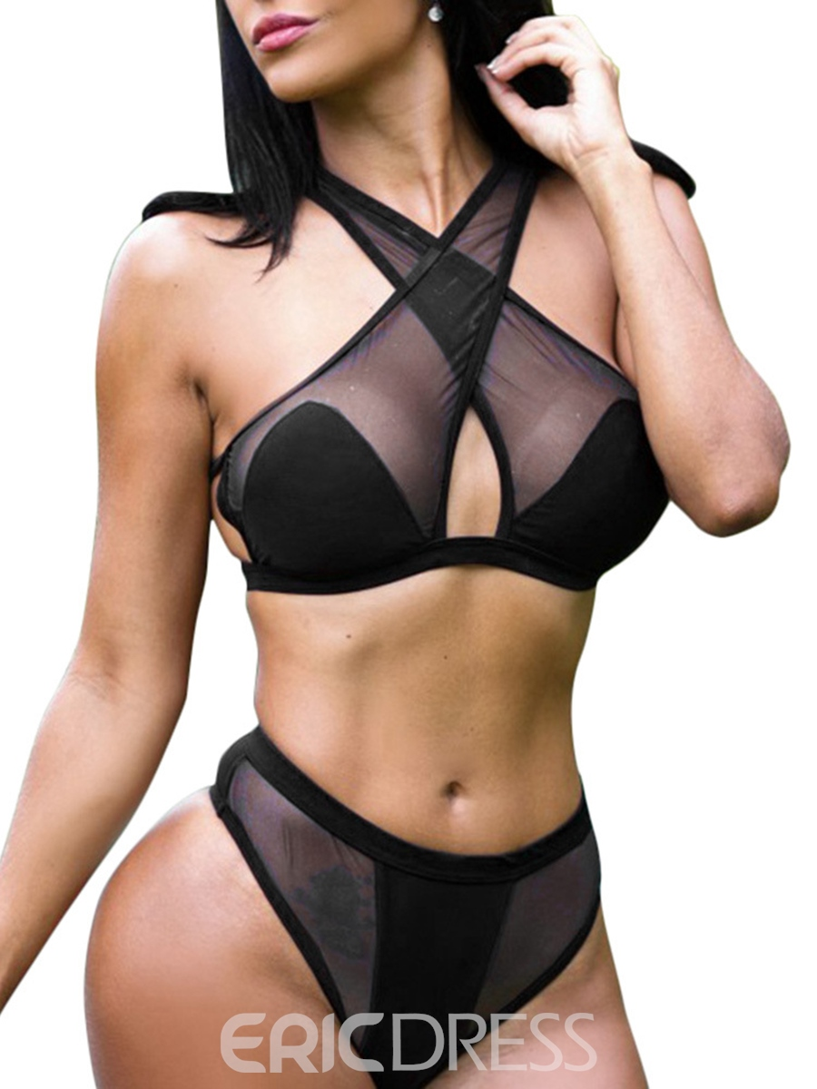 Ericdress High Waist Halter See-Through Mesh Sexy Bikini Set