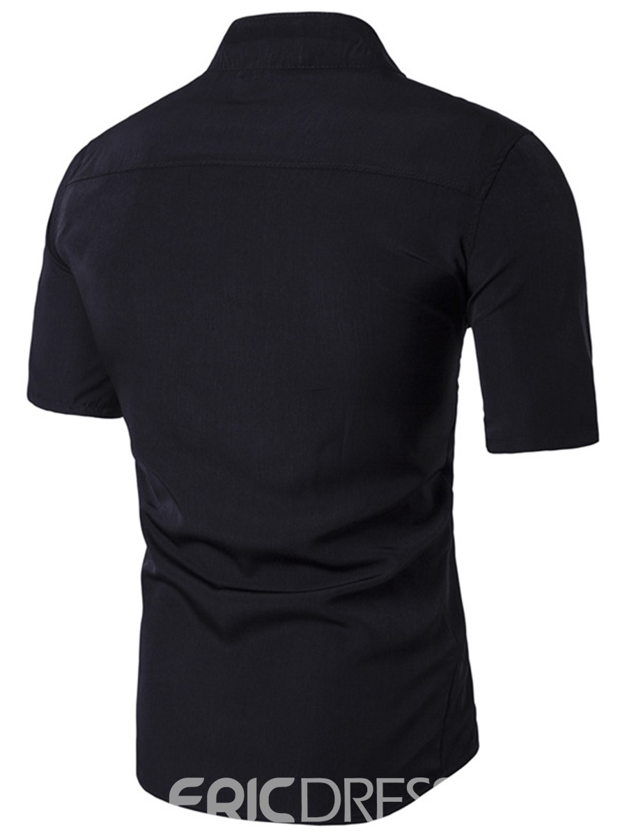 Ericdress Double-Breasted Unique Design Stand Collar Men's Shirt