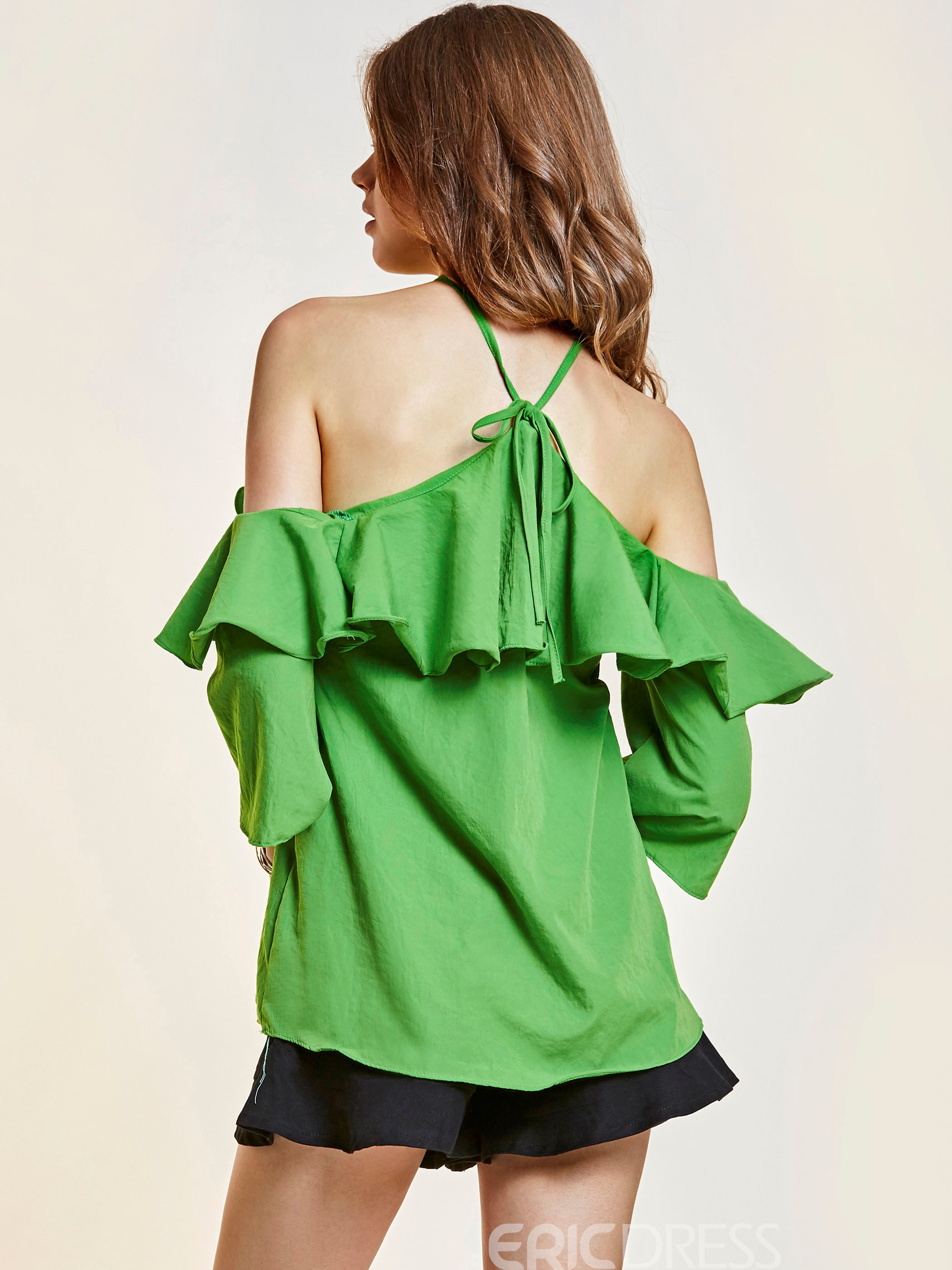 Ericdress Plain Ruffles Backless Lace-Up Blouse